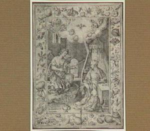 De annunciatie, in een decoratieve omlijsting
