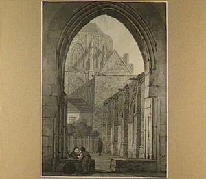 Gezicht op de kloostergang van de Dom te Utrecht