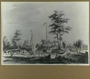 Rivierlandschap met boten en figuren