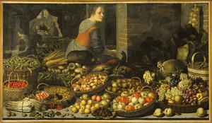 Stilleven met vruchten en groenten met op de achtergrond Christus en de Emmausgangers