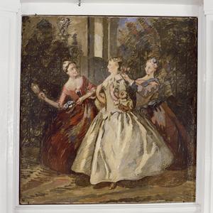 De stiefzusters van Assepoester kleden zich voor het bal