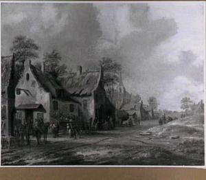 Dorpsstraat met reizigers en boeren bij de herberg