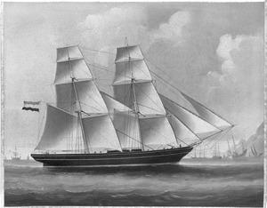 Het brikschip 'Wilhelmina en Eliza' van rederij P. van Rooyen zeilende voor een Oostaziatische rede