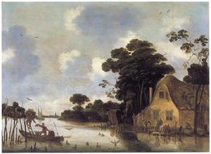 Boerderij aan de oever van een rivier met wasvrouwen en een bootje bij een broedkorf