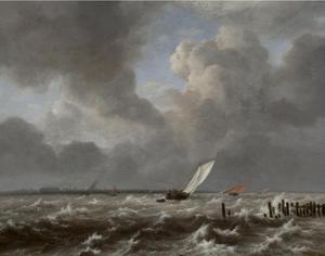 Schepen op het IJ voor Amsterdam op een stormachtige dag