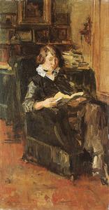 Lezend meisje in een stoel