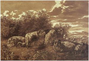 Heuvellandschap met herder en schapen