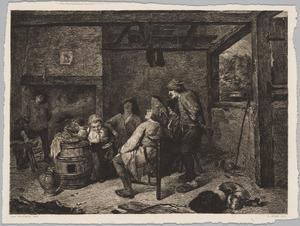 Boeren en kinderen in een interieur
