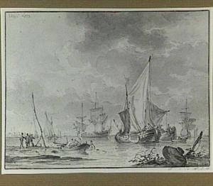 Kunstlandschap met schepen op zee
