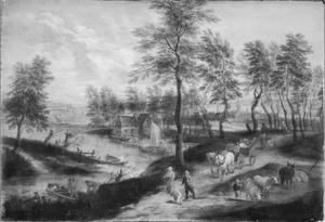 Landschap met boerenkar, vee en wandelaarsop een weg langs een rivier