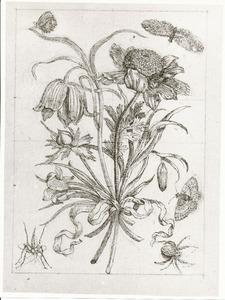 Boeketje bloemen bijeengebonden met een strik