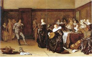 Elegant musicerend en dansend gezelschap in een interieur