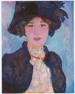Portret van Greet, met hoed