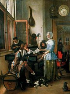Gezelschap met klavecimbelspelende vrouw in een interieur