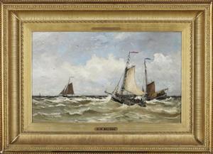 Onstuimige zee met schepen