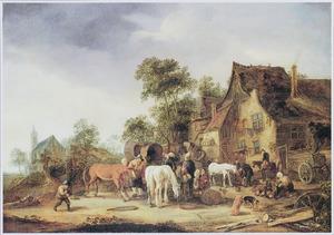 Boeren en paarden voor een herberg