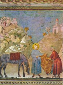Sint Franciscus geeft zijn mantel weg aan een arme man