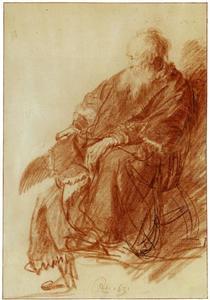 Oude man in een leunstoel