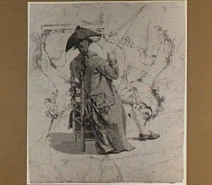 Zittende man met schilderstok, op de rug gezien