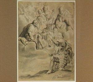 Maria met Kind en de Heiligen Petrus en Paulus rond een engel die een veldheer zijn zwaard overhandigt