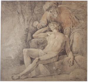De barmhartige Samaritaan verzorgt de gewonde reiziger (Lucas 10:30-37)