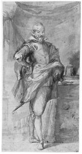 Portret van een staande man bij een tafel