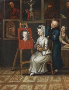Zelfportret van de kunstenaar met zijn vrouw en schoonvader in het atelier