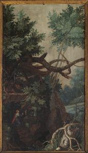 Boslandschap met de boetvaardige Maria Magdalena