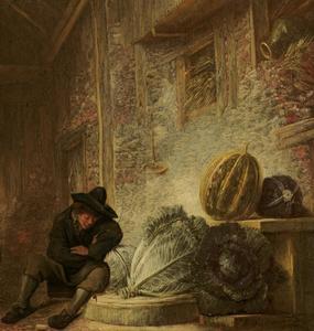 Slapende jongen in een stal