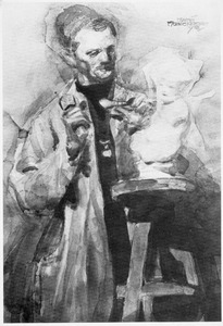 Een beeldhouwer aan het werk