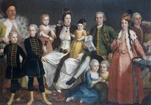 Familieportret van David George van Lennep (1712-1797), Anna Maria Leidstar (1738-1791), hun 8 kinderen en Johannes Justinus Leidstar (1708-?)