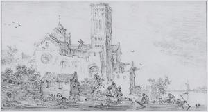 De Utrechtse Mariakerk in een gefantaseerd omgeving