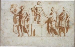 Romeinse figuren, waarvan één op een sokkel
