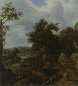 Scandinavisch landschap met een watermolen