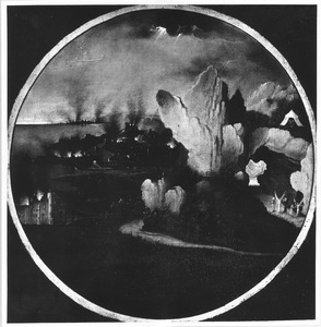 Landschap met de verwoesting van Sodom en Gomorra; de negelen sporen Lot en zijn gezin aan tot spoed (Genesis 19: 24-29)
