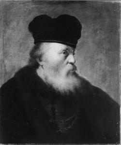 Portret van een joodse oude man met grote muts