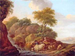 Berglandschap met herders bij een waterval