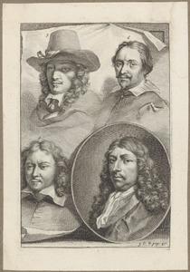 Portretten van Karel Dujardin (1626-1678), Gilles Claesz. de Hondecoeter (....-1638), Gabriel Metsu (1629-1667) en Gerard ter Borch II (1617-1681)