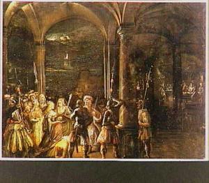 Kerkinterieur met de onthoofding van Johannes de Doper