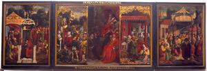 Het oordeel van Cambyses (linkerluik); Keizer Trajanus hoort de smeekbede aan van een weduwe, wier zoon werd vermoord door Trajanus' leger (middendeel, links), de Gerechtigheid (middendeel, midden; overschilderd door J. Waben), Herkenbald snijdt zijn neef de keel door (middendeel, rechts); Het oordeel van Zaleucus (rechterluik)