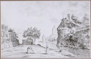 Utrecht, gezicht vanaf het Begijnebolwerk op de stadsmuur met de waltoren De Beer, de Plompetoren en de waltoren De Vos