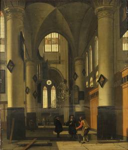 Interieur van een protestantse gotische kerk met elementen van de Oude en de Nieuwe Kerk in Amsterdam