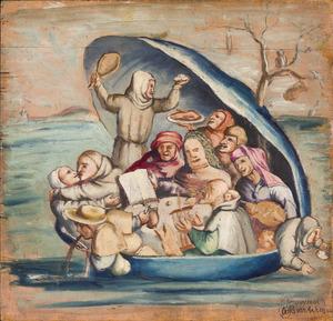 Copie naar Het Narrenschip van Hieronymusch Bosch