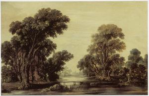 Boomrijk rivierlandschap met een landhuis