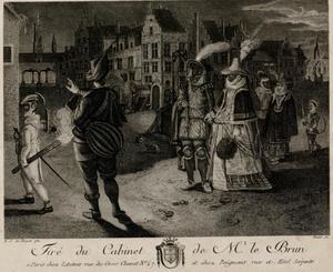 Nachtelijk tafereel met gemaskerde mensen in een stad, mogelijk Antwerpen