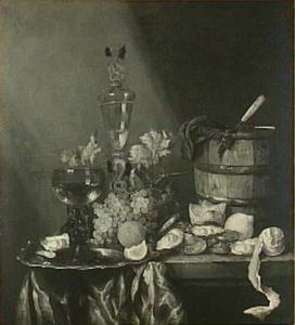 Stilleven met oesters, oesterton, fruit en glazen op