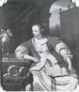 Vrouw met een liederenboek
