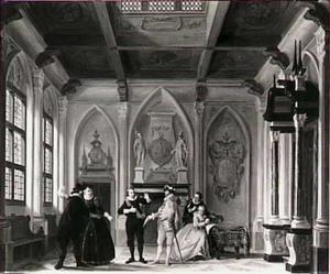 Scène uit het toneelstuk 'Jacob Simonsz. de Rijk' in het door Muys vervaardigde decor 'De kloosterkamer' van de Rotterdamsche Schouwburg