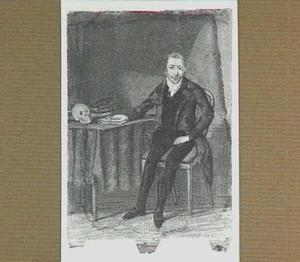 Portret van een onbekende man, gezeten aan een tafel met een schedel en een verlostang
