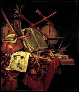 Stilleven met portret van de kunstenaar door Leendert van der Cooghen (1632–1681)
